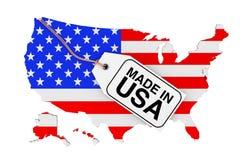 Översikt av USA med flaggan och som gör i den USA Sale etiketten framförande 3d Royaltyfria Bilder