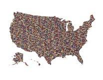 Översikt av USA med isolerat folk Royaltyfri Bild
