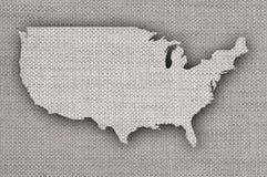Översikt av USA på gammal linne Fotografering för Bildbyråer