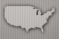 Översikt av USA på korrugerat järn Royaltyfria Bilder