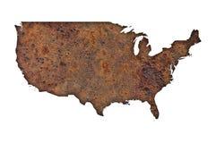 Översikt av USA på rostig metall Royaltyfri Foto