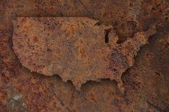 Översikt av USA på rostig metall Arkivfoto