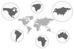 Översikt av världen med dess individuella delar Grey Political World Map Illustration Arkivbild