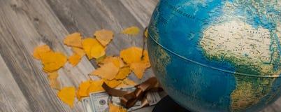 Översikt av världen med höstsidor av trä Royaltyfri Foto