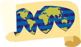 Översikt av världen på en scroll Royaltyfri Illustrationer