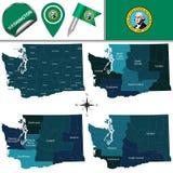 Översikt av Washington med regioner royaltyfri illustrationer