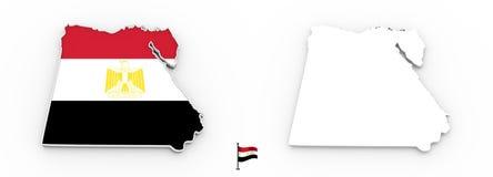 översikt 3D av Egypten den vita konturn och flaggan royaltyfri illustrationer