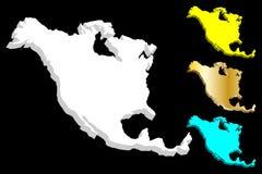 översikt 3D av Nordamerika vektor illustrationer