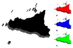 översikt 3D av Sicilien Arkivbilder