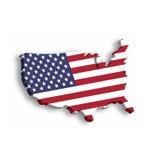 översikt 3D av USA, aka Amerikas förenta stater, i en form av USA-översikten Vektorillustration med tappad skugga på Arkivbild