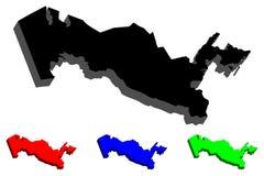 översikt 3D av Uzbekistan Royaltyfri Fotografi