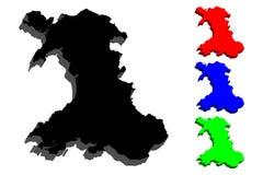 översikt 3D av Wales Royaltyfri Bild