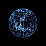 översikt för översikt för jordjordklot glödande ljus Fotografering för Bildbyråer