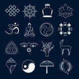 Översikt för buddismsymbolsuppsättning vektor illustrationer