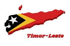 översikt för översikt 3D och flagga av Timor-Leste i röd gul och svart färg med den vita stjärnan stock illustrationer