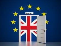 Översikt för europeisk union runt om den öppna dörren som leder till den brittiska flaggan illustration 3d Arkivfoto