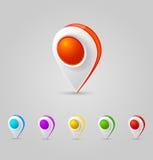 översikt för färggps-symboler Arkivfoto