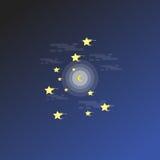 Översikt för för nattlandskapstjärna och måne Fotografering för Bildbyråer