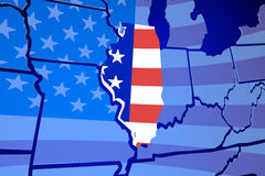 Översikt för Illinois IL Förenta staternaAmerika USA flagga Arkivfoto