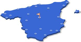 översikt för isometrisk sikt 3d av Spanien med blåa yttersida och städer isolerad vit bakgrund vektor illustrationer