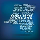 Översikt för Kongofloden som (DRC) göras med namn av städer Arkivbilder