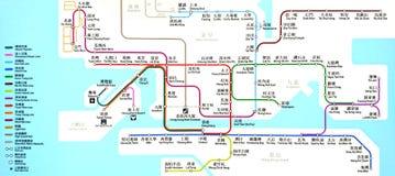 Översikt för MTR-stationsrutt i Hong Kong royaltyfri fotografi
