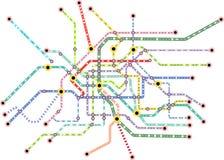 Översikt för offentligt trans. av en stor stad, uppdiktad vektorkonst stock illustrationer