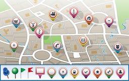 översikt för stadsgps-symboler