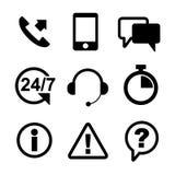 Översikt för svart för kundtjänstsymbolsuppsättning Arkivfoto