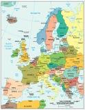 Översikt för uppdelningar för Europa region politisk Royaltyfri Fotografi