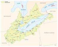 Översikt för vektor för Lake Erie dräneringhandfat royaltyfri illustrationer