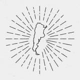 Översikt för vektorArgentina översikt med retro sunburst royaltyfri illustrationer