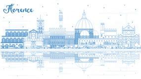 Översikt Florence Italy City Skyline med blåa byggnader och Refl vektor illustrationer