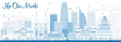 Översikt Ho Chi Minh Skyline med blåa byggnader vektor illustrationer