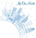 Översikt Ho Chi Minh Skyline med blått byggnader och kopieringsutrymme stock illustrationer