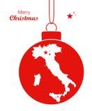 Översikt Italien för glad jul royaltyfri illustrationer