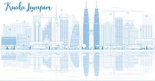 Översikt Kuala Lumpur Skyline med blåa byggnader och reflexioner royaltyfri illustrationer