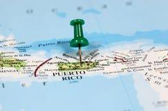Översikt med stiftpunkt av Puerto Rico Royaltyfria Foton
