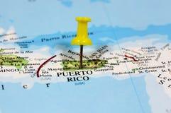 Översikt med stiftpunkt av Puerto Rico Arkivbilder