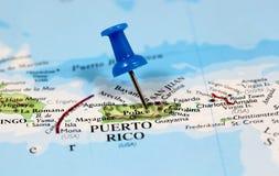 Översikt med stiftpunkt av Puerto Rico Royaltyfri Bild