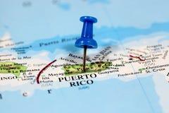 Översikt med stiftpunkt av Puerto Rico Arkivfoto