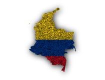 Översikt och flagga av Colombia på vallmofrön Royaltyfri Fotografi