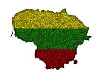 Översikt och flagga av Litauen på vallmofrön Fotografering för Bildbyråer