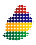 Översikt och flagga av Mauritius royaltyfri illustrationer