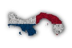 Översikt och flagga av Panama på vallmofrön Fotografering för Bildbyråer