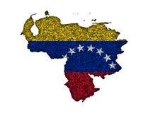 Översikt och flagga av Venezuela på vallmofrön Arkivfoton