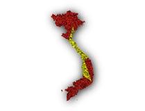 Översikt och flagga av Vietnam på vallmofrön Arkivbilder