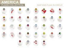 Översikt och flagga i cirkeln, Amerika landssamling stock illustrationer