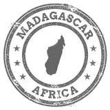 Översikt och text för rubber stämpel för Madagascar grunge Arkivbilder