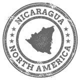 Översikt och text för rubber stämpel för Nicaragua grunge royaltyfri illustrationer
